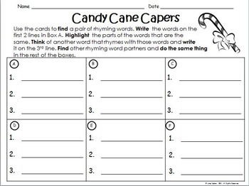 Rhyming Words ~ Candy Cane Capers