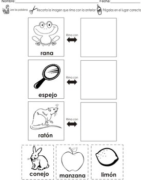 rhyming words center activities in spanish flashcards by little steps. Black Bedroom Furniture Sets. Home Design Ideas