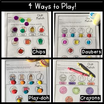Kindergarten Rhyming Words Chip Match
