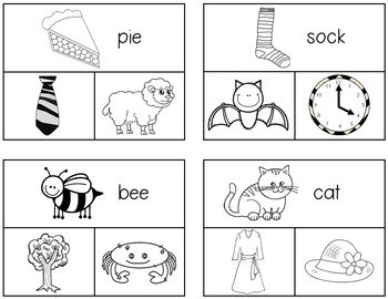 Phonemic Awareness: Rhyming Words Clip Cards (2 Levels)