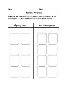 Rhyming Words: Cut, Sort, & Paste Activity