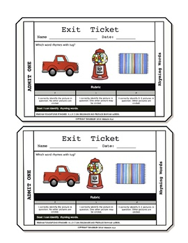 Rhyming Words Exit Tickets