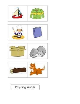 Rhyming Words File Folder Game