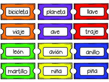 Rhyming Words Game in Spanish-Carnival Theme