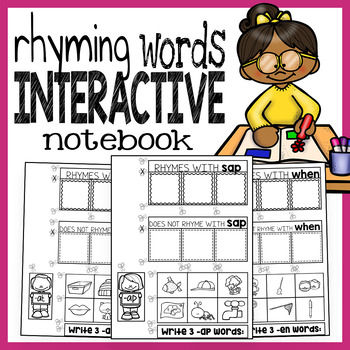 Learning and Writing My Rhyming Words Interactive Notebook - 10 Sets of Rhymes