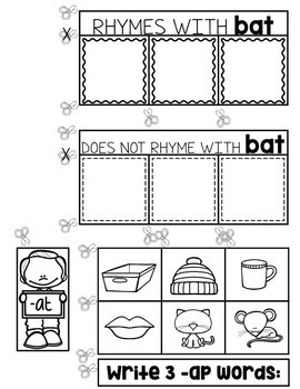 Rhyming Words Interactive Notebook - Rhymes Worksheets