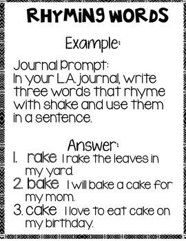 Rhyming Words Language Arts Notebook