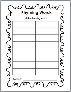 Rhyming Words Matching Activity - Set 1