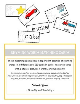 Rhyming Words Matching Cards
