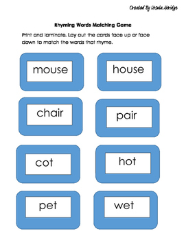 Rhyming Words Matching Game