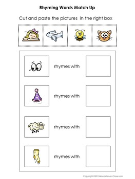 Rhyming Words Special Education Matching Set