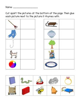 Rhyming Words Matching Worksheets