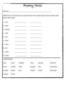 Rhyming Words Bundle