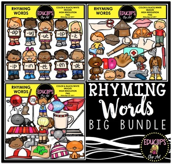 Rhyming Words Clip Art Big Bundle {Educlips Clipart}