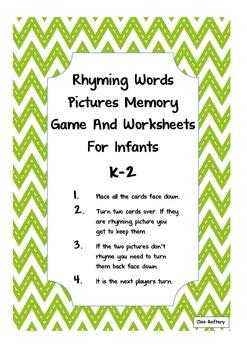 Rhyming Words Memory Game & Worksheets