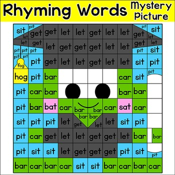 End of Year Activities: Color by Rhyming Words - Frog Graduate