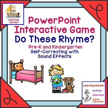 Rhyming Words  Phonemic Awareness Self Correcting Interactive PowerPoint