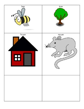 Rhyming Words Picture Match Game