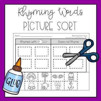 Rhyming Words Picture Sort (Cut & Paste)
