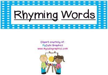 Rhyming Words Pocket Chart Game