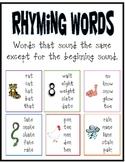 Rhyming Words Poster