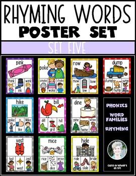 Rhyming Words Posters for Kindergarten & First Grade Reading ELA {Set Five}