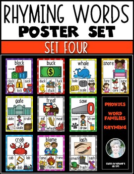 Rhyming Words Posters for Kindergarten & First Grade Reading ELA {Set Four}