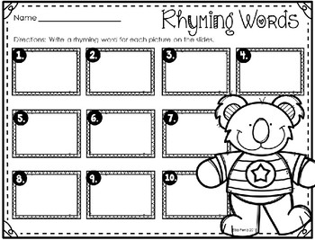 Rhyming Words Power Point