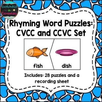 Rhyming Words Puzzles: CVCC and CCVC Set
