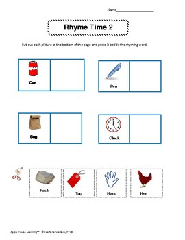 Rhyming: Phonological Awareness Activity Cards