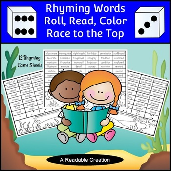 Rhyming Words Roll, Read, Color Game Sheets