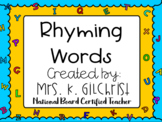 Rhyming Words SMART Notebook Lesson - Smartboard Rhymes