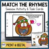 Rhyming Words Seesaw Activity | Christmas Digital Center