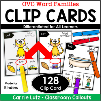 Rhyming Words (Short Vowels) Clip Cards ~ Differentiated