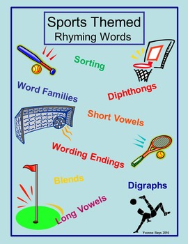 Rhyming Words Sports Theme