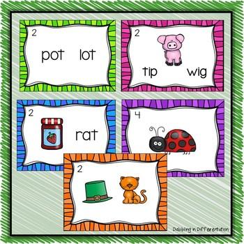 Rhyming Words Task Cards (Short Vowels)