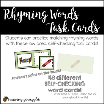 Rhyming Words Task Cards - Low prep, self-checking word work fun!