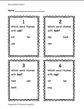 Rhyming Words Test Practice