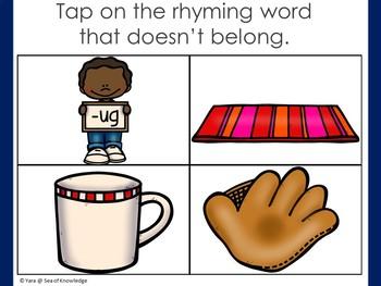 Rhyming Words - What Doesn't Belong? + Digital Drag and Drop Boom Digital Slides