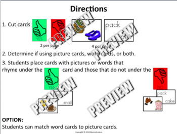 Word Families & Rhyming Words Activity: YES/NO  SORT