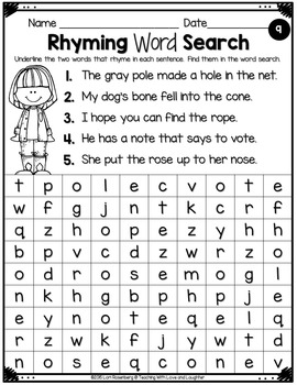 Rhyming Words Word Searches