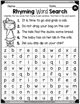 Word Searches {Rhyming Words}
