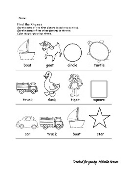 Rhyming Words Worksheet2