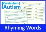 Rhyming Words Vocabulary Worksheets Autism Special Education