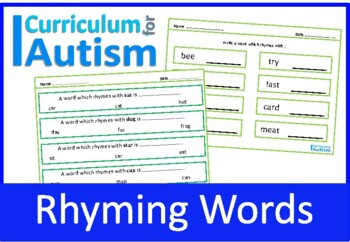 Rhyming Words, Autism, Special Education, Speech Therapy, ESL