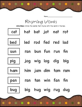 Rhyming Words Worksheets BUNDLE - Fall Themed