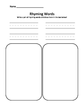Rhyming Words - Write and Draw