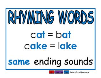 Rhyming Words blue