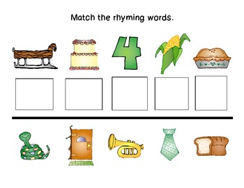 Rhyming Words sheets/game