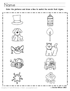Rhyming Worksheet by Sparking a Love for Learning | TpT